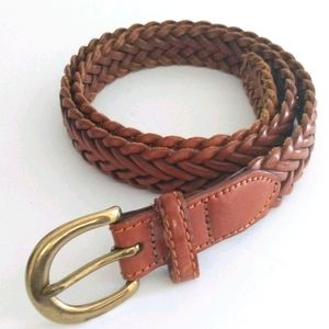 Lands' End Braided Leather Belt Brown Size 32